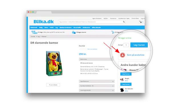 b22c9fff Her kan du se et eksempel på hvordan Bilka.dk har implementeret ønskelisten  i deres webshop: