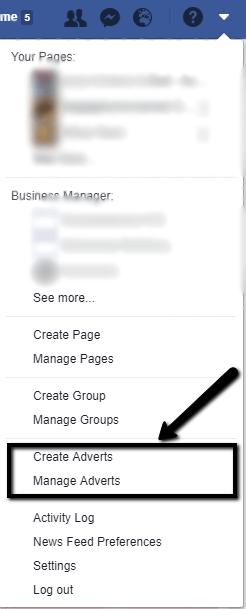 høyre side av Facebooks menylinje