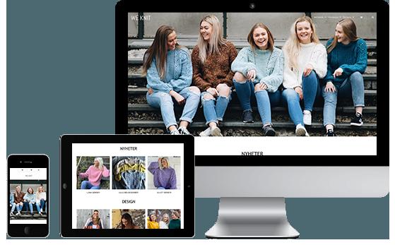 Tre skærme med billede af We Knit webshop